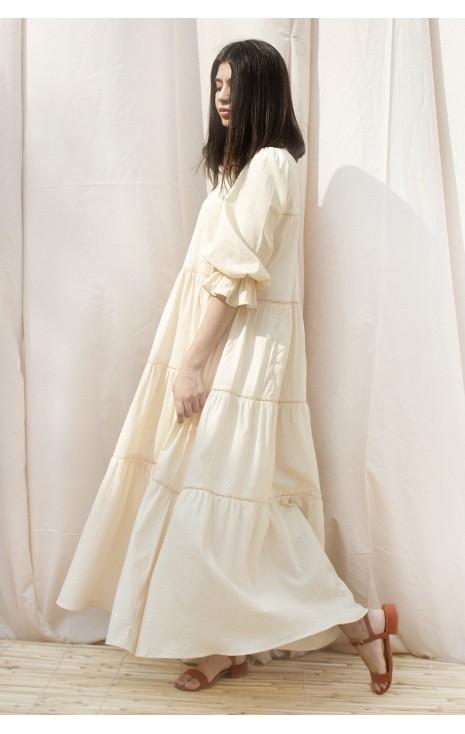 Beige Sequins Dress