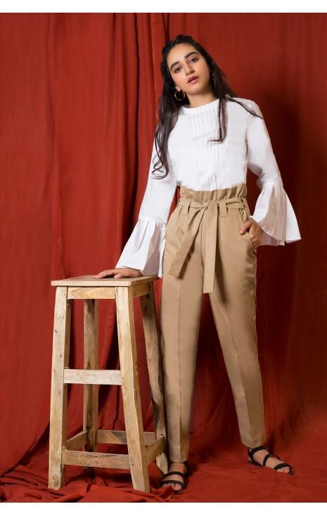 Khaki Frill Pants