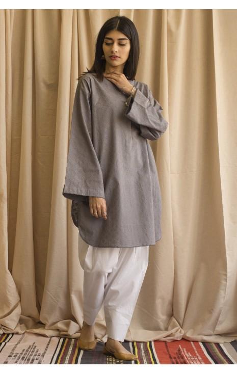 Grey Chickan Kari Outfit